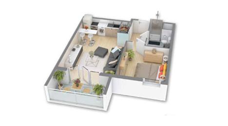 plan d'un appartement t2
