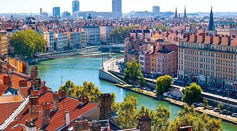 Vue aérienne du Vieux Lyon